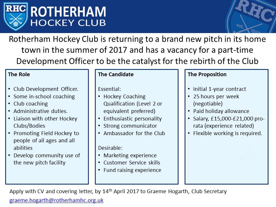 Yorkshire Hockey Association: Rotherham HC Development Officer
